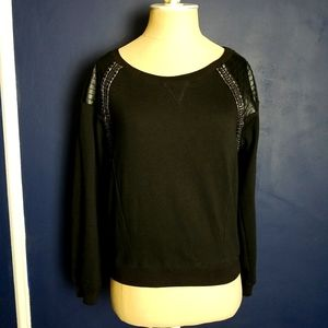 Bebe Long Sleeve Top Black Size Small Faux Leather